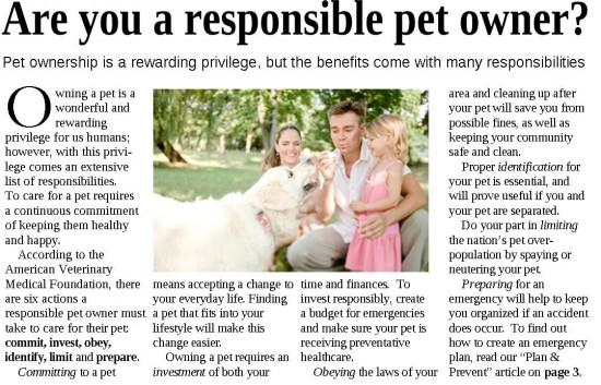 responsible pet owner text